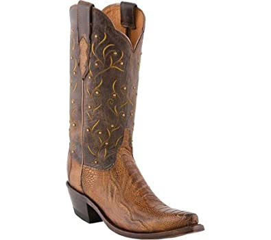 Lucchese Women's Western Ostrich Leg Cowgirl Boot Snip Toe Tan US