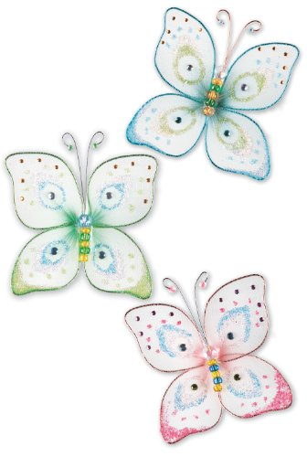 York Wallcoverings Candice Olson Kids CK7853 Butterfly Kisses Wall Charm, Blue/Green/Pink