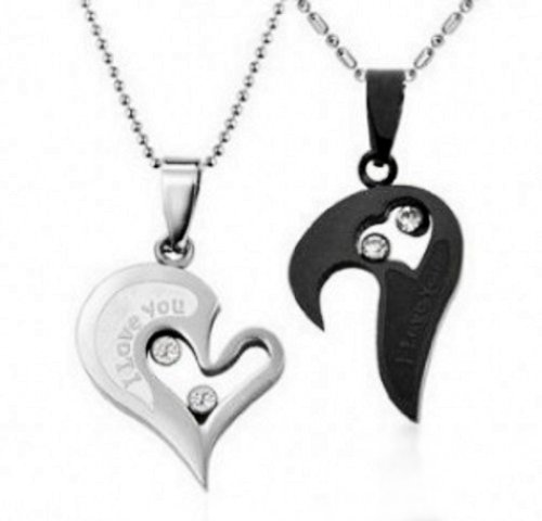 Couple Stainless Steel Necklace Sets I Love You