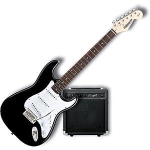fender starcaster strat electric guitar starter pack black guitars store. Black Bedroom Furniture Sets. Home Design Ideas