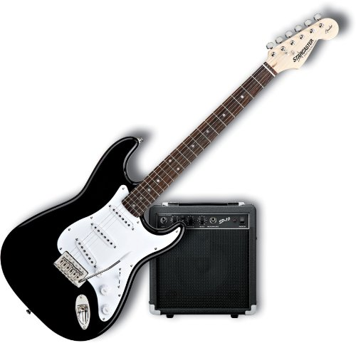 Starcaster by Fender Strat Electric Guitar Starter Pack, Black