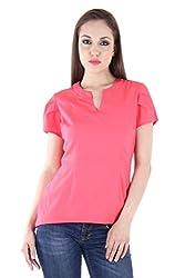 Bonheur Women's Solid Top (BH-052-Pink-XL_Pink_XLarge)