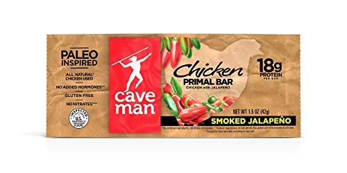 Caveman Foods Chicken Primal Bar, Smoked Jalapeno, 12 Count (Smoked Chicken compare prices)