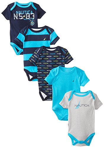 Nautica Baby-Boys Newborn Assorted 5 Pack Bold Bodysuits, Multi, 3-6 Months front-1020739