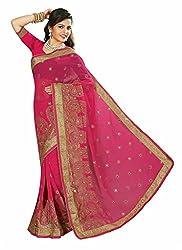 Clothsguru Women's Georgette Saree with Blouse Piece (Pink)