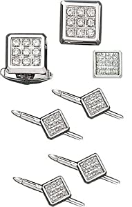 Magnificent 14K White Gold Square Shirt Studs and Cufflink Set-86212/Set