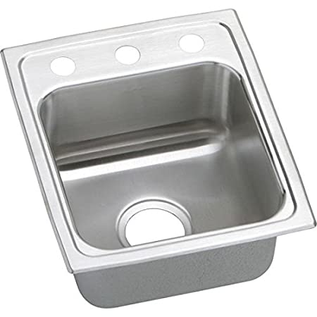 Elkao|#Elkay LRADQ1517403 18 Gauge Stainless Steel 15 Inch x 17.5 Inch x 4 Inch single Bowl Top Mount Kitchen Sink. 3 Hole,