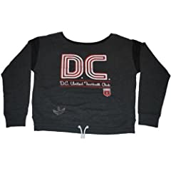 D.C. United Adidas Ladies Vintage Style Drawstring Long Sleeve Gray Sweater (S) by adidas