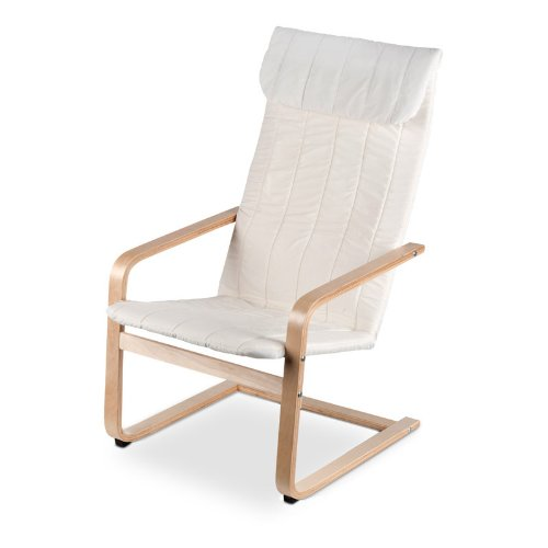 Swinging Chair Relaxation Lounger Ecru 101 x 59 x 69 cm Birch Frame