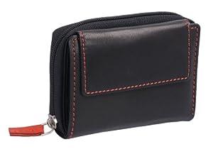 Portefeuille OTARIO, cuir véritable, noir-rouge 10x9cm