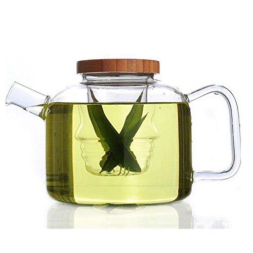 750Ml Clear Glass Heat Resistant Tea Coffee Maker Kettle Teapot W/ Bamboo Lids