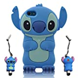 3D Blue Stitch & Lilo ipod touch 5 Soft Silicone Case Cover With 3D Stitch Stylus Pen For itouch 5g 5th Generation