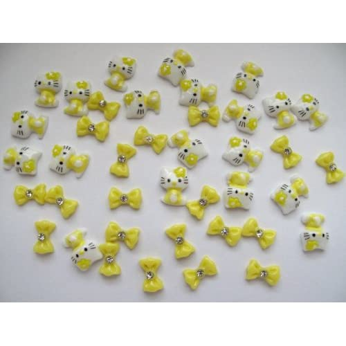 Nail Art 3d 40 Pieces Mix Yellow Hello Kitty/Bow for Nails, Cellphones 1.3cm*.9cm