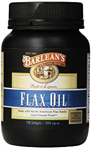 Barlean's Organic Oils High Lignan Flax Oil Softgels, 100 Count Bottle, 1000 mg ea.