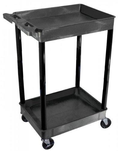 Luxor Tub Utility Cart - 2-Shelf, Black, Model# STC11-B