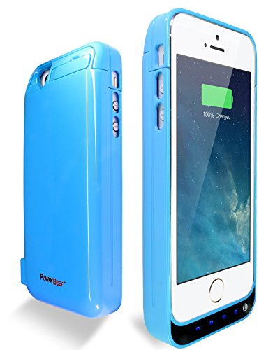 PowerBear® iPhone 5 / 5S / 5C Battery Case  - Protective Extended Rechargeable Power Case with Built-in 2.0 PowerBank  - 4200mAh - Sky Blue - LED Indicator Lights - Hands-free Kickstand + FREE Screen Protector