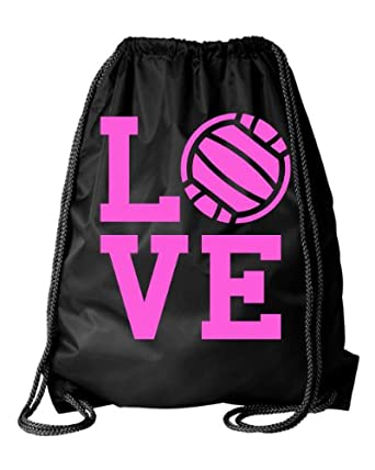 Buy Large Black Volleyball Love Drawstring Gym Bag by Activewear Apparel