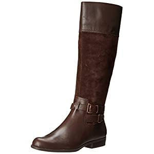 AK Anne Klein Women's Coldfeet Wide Leather Riding Boot