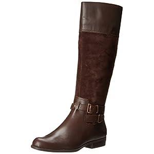 AK Anne Klein Women's Coldfeet Wide Leather Riding Boot