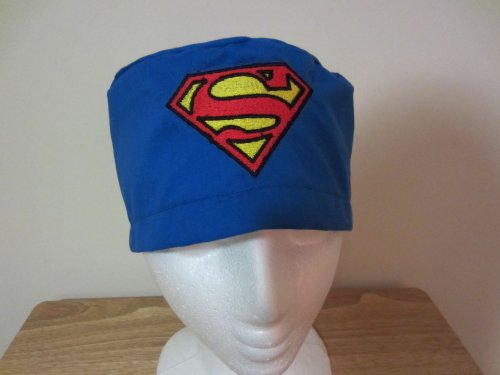 Mens Scrub Cap, Surgical Hat, Superman Logo Embroidered