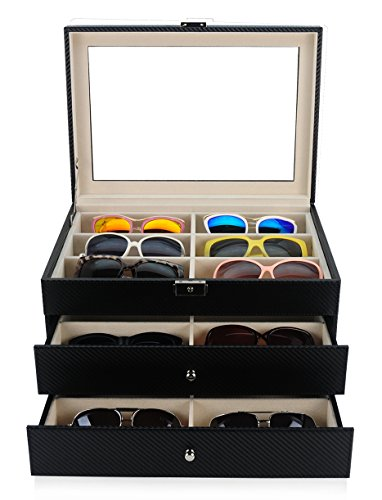 18 Piece Large Black Carbon Fiber Eyeglass Sunglass Three Level Glasses Display Case with Drawer (Eyeglasses Display Case compare prices)