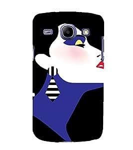 PrintVisa Fashion Short Hair Girl Art 3D Hard Polycarbonate Designer Back Case Cover for Samsung Galaxy Core i8262