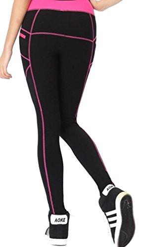 Neonysweets Womens Legging Sports Workout Tights Running Yoga Pants Black Rose L