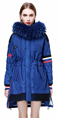 Ilishop Women'S Winter Coat Slim Md-Long Down Jacket With Removable Fur Navy-Blue L