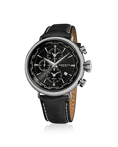 Akribos XXIV Men's AK629BK Black Leather Watch
