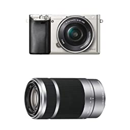 Sony Alpha a6000 Silver Interchangeable Lens Camera with 16-50mm and Silver 55-210mm Sony E-Mount Lenses
