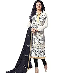 Zombom White Chanderi Cotton Embroidered Salwar Kameez Dress Material