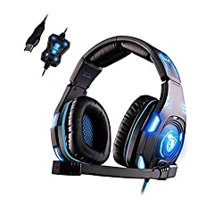 SADES SA907 7.1 Surround Sound USB Stereo Gaming Headset Headphones Cool LED Light with Microphone Noise Isolation for PC Laptop black
