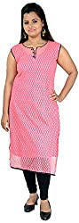 NelNik Women's Net Kurta (Nel034_Medium, Pink, Small)