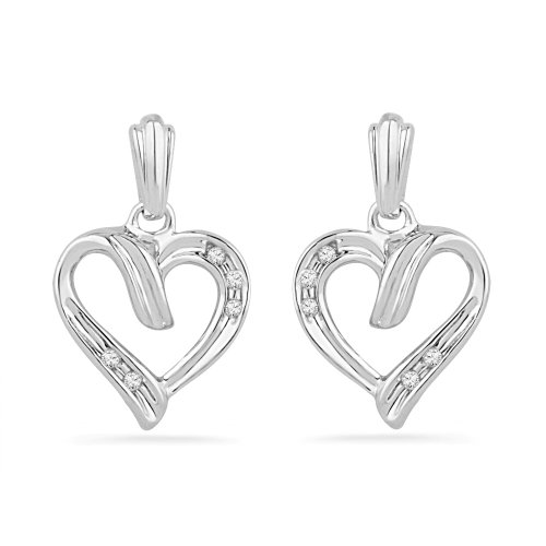 Platinum Plated Sterling Silver Round Diamond Fashion Earrings (0.04 Cttw)