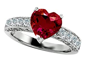 Star K 8mm Heart-Shape Created Ruby Engagement Ring Size 6