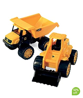 Classic pair of authentic tough JCB vehicles  Free wheeling and ready for action  Suitable from 3yrs