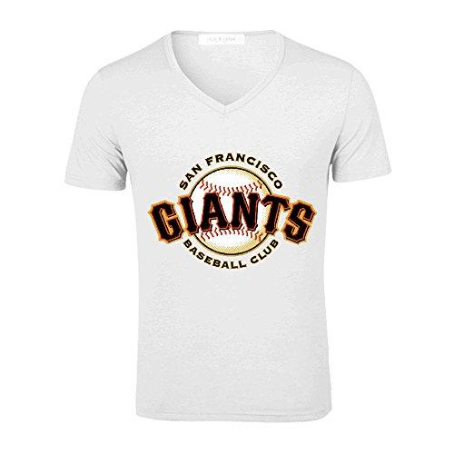 Eva San Francisco Giants Men MLB Team Logo V Neck Graphic T Shirts White