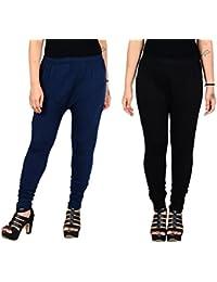 Aashirya Churidar Cotton Lycra Women Leggings 1 Navy Blue & 1 Black Combo
