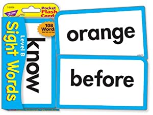 Trend Enterprises Sight Words Level B Pocket Flash Cards