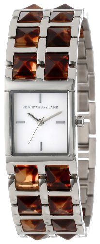 Kenneth Jay Lane Women's KJLANE-1503 1500 Series Mother-Of-Pearl Dial Stainless Steel and Brown Tortoise Resin Watch