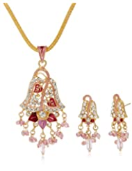 "AAKSHI ""Pink Peacock Jhumka Design"" With Pink Pearl Drop Jewellery Set (AKS_ST_LEFP)"