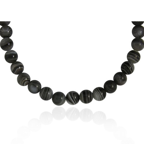 10mm Round Botswana Agate Bead Necklace, 16+2