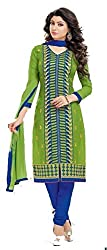 Exquisite & Beyond Womens Chanderi Cotton Embroidery Unstitched Salwar Suit _ch13_Green & Blue