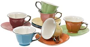 Classic Coffee & Tea Inside Out Heart Cups & Saucers, Set of 6, Assorted/Platinum, 5 Oz.