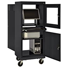 "Sandusky JG2663-09 Black Steel Mobile Computer Security Workstation, 150 lbs Capacity, 26"" Width by 63"" Height by 24"" Depth"