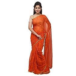 Aradhya Enterprises Women's Chiffon Saree-AE3314_Orange