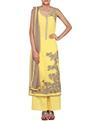Kalki Fashion Yellow Georgette Straight Cut Salwar Kameez Embellished In Thread Work Only On Kalki