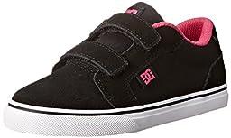DC Anvil V Youth Vulcanized Shoes Skate Shoe (Toddler/Little Kid/Big Kid), Black/Crazy Pink, 3 M US Little Kid