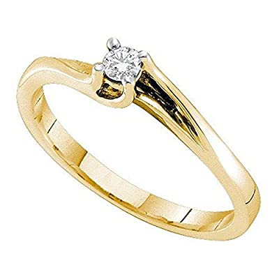 0.09 Carat (ctw) 14K Yellow Gold Real Round Diamond Ladies Engagement Solitaire Ring With Round Center