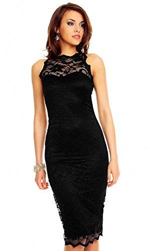 Spitzenkleid Cocktailkleid Abendkleid Etuikleid aus Spitze Deluxe Look schwarz XL